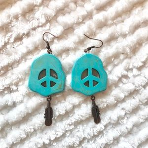 Turquoise Peace Sign Earrings.